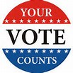 """Image: red, white and blue round button emblazoned with """"YOUR VOTE COUNTS"""""""